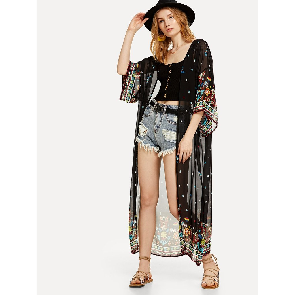 6a9a68fe71 Black Sheer Embellished Floral Kimono Cover Up. Bathing Suit Beach Cover-Ups.  Chiffon Geo Print Open Front Kimono