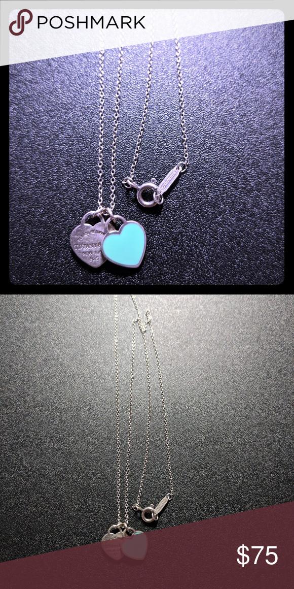 5077e426efd0 ... silver Return to Tiffany mini double heart necklace In excellent  condition