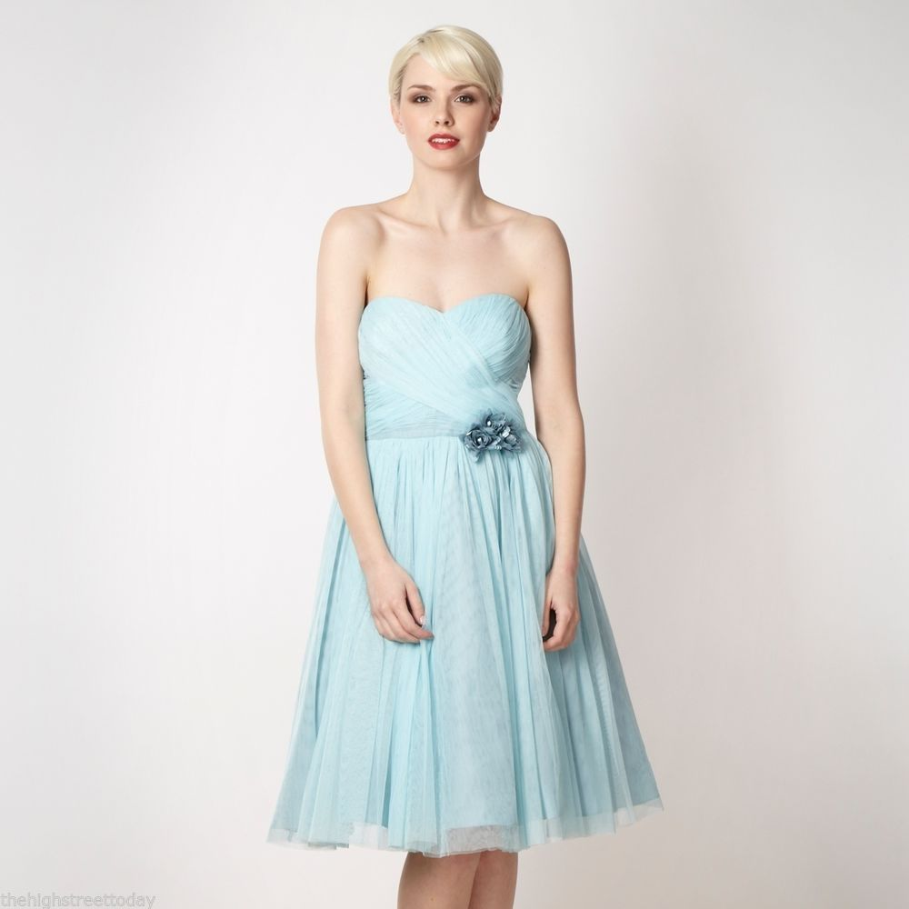 Awesome Light Blue Bridesmaid Dresses Designs : Strapless Knee ...