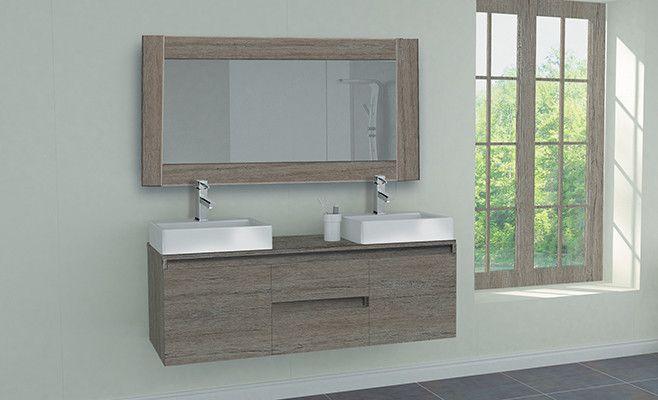 Ensemble de meubles de salle de bain Caseron Memphis marron marbre - meuble salle de bain marron