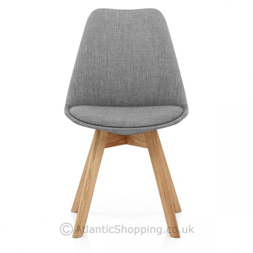 Ski Oak Dining Chair Dark Grey Fabric