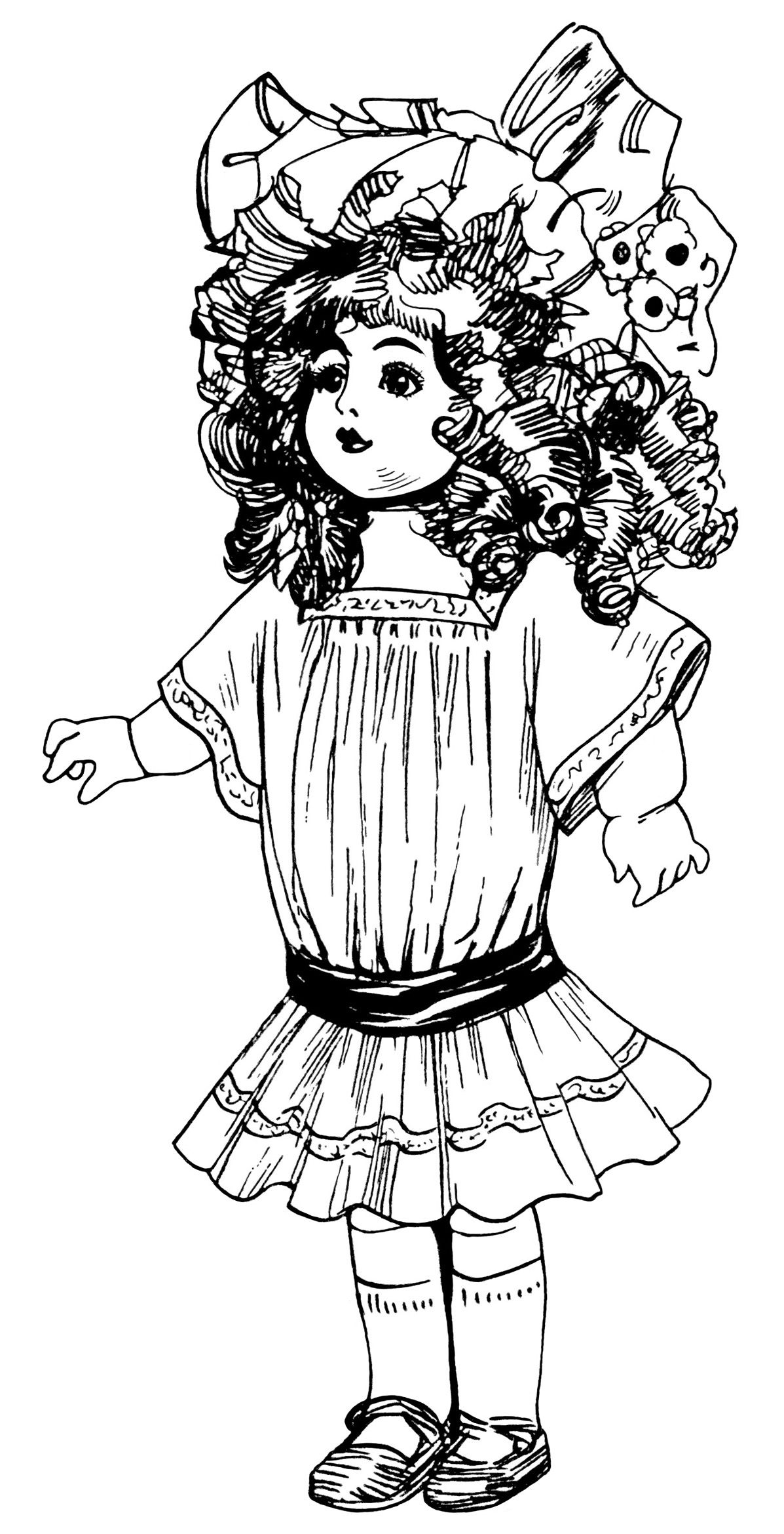 Vintage Doll Clip Art Victorian Toys Illustration Black