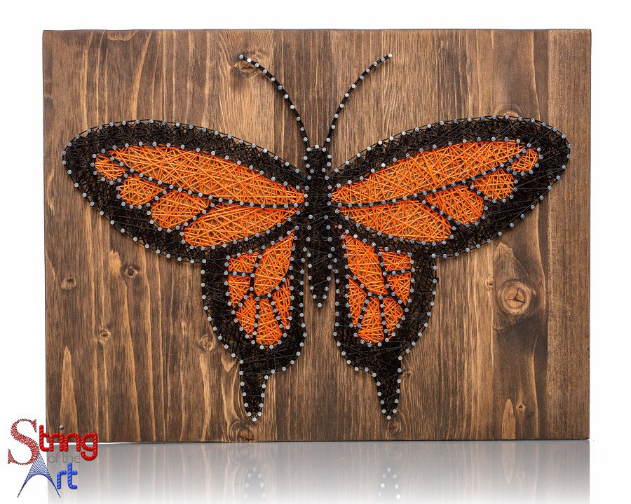 Orange monarch butterfly string art kit nail patterns for Diy nail and string art