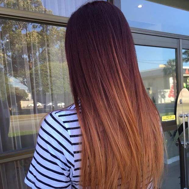 Mahogany Copper And Honey Balayage Hair Maybe For Fall Hair Color Mahogany Balayage Straight Hair Mahogany Hair