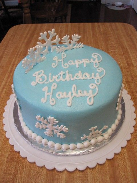 Blue Frozen Birthday Cake Snowflake Cake For Kids Diy Holiday