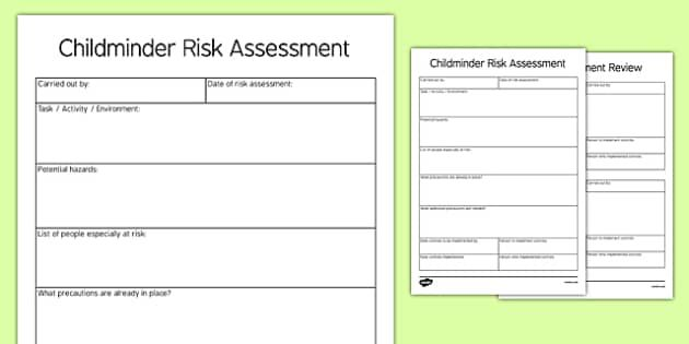 Pin by Bregje on Childminding Ideas Pinterest - risk assessment form