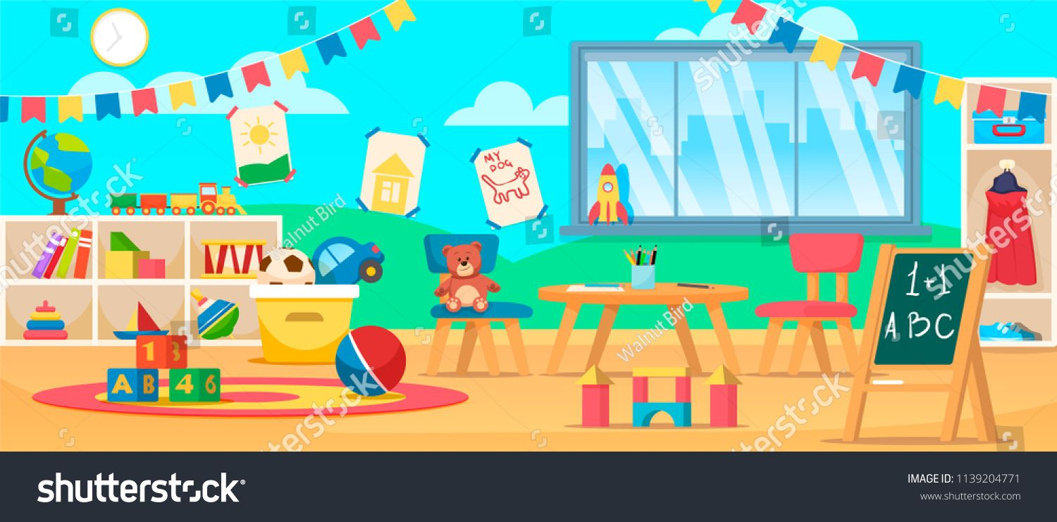 Kindergarten Education Interior Preschool Classroom With Desk Chairs And Toys Learning And Study Place Preschool Classroom Kids School Cartoon Illustration