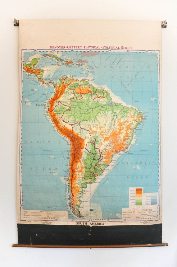 Large Vintage Pull Down School Map of South America    Denoyer - best of world map with ecuador