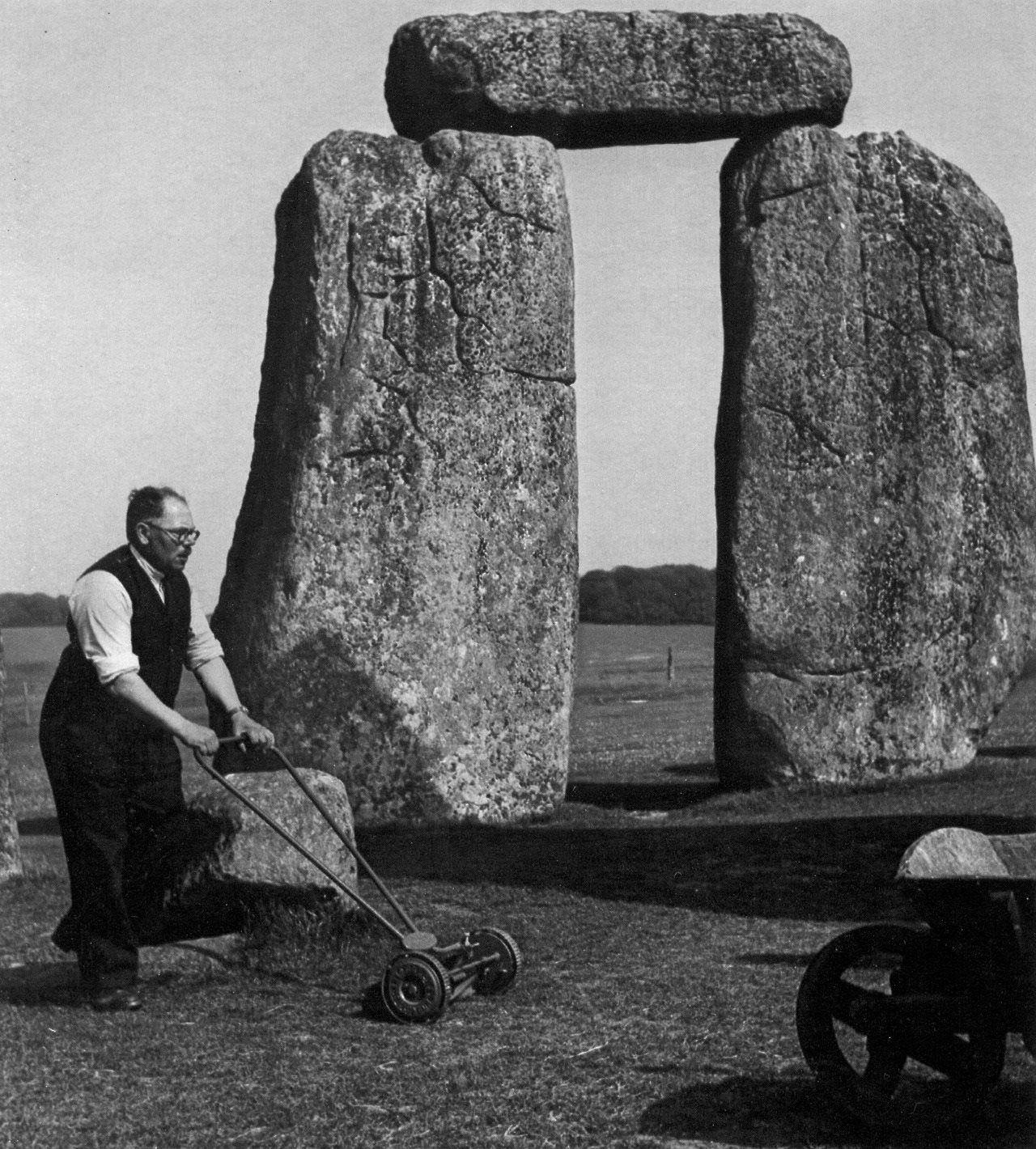 Mowing Stonehenge, ca. 1950