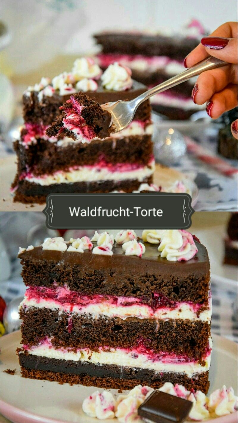 Waldfrucht-Torte/ Saftiger Schokoladenkuchen mit Waldfrüchten #tortegeburtstag