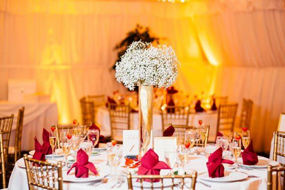 Wedding Flower Idea Babys Breath Centerpieces Look Elegant In Tall Gold Vases Red White And