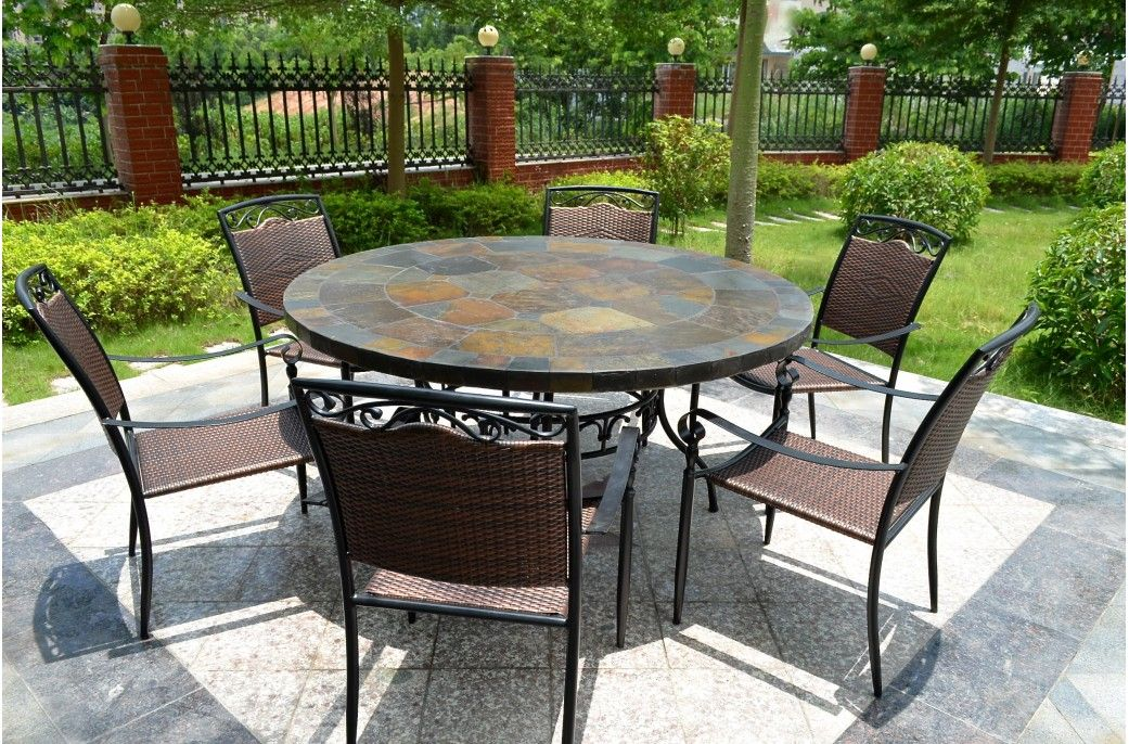 63 39 39 Round Slate Outdoor Patio Dining Table Stone Oceane Outdoor Patio Table Slate Patio Patio Tiles