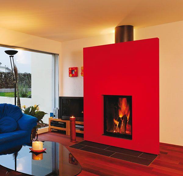 chemin e sur coffrage rouge cadre de finition m tal noir foyer ruegg lumo chemin es. Black Bedroom Furniture Sets. Home Design Ideas