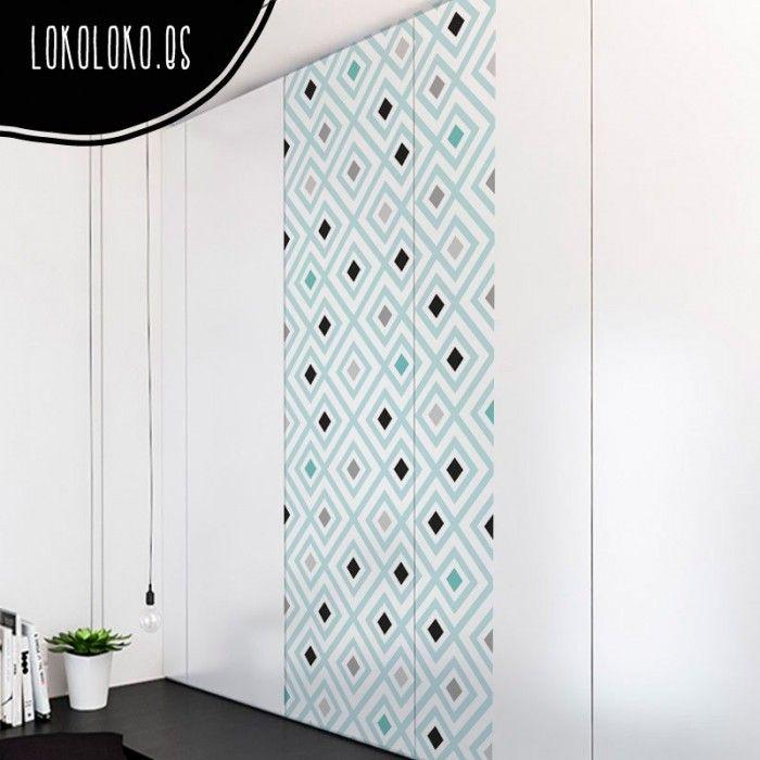 Mosaico de rombos turquesas puertas de armario empotrado - Revestir armario empotrado ...