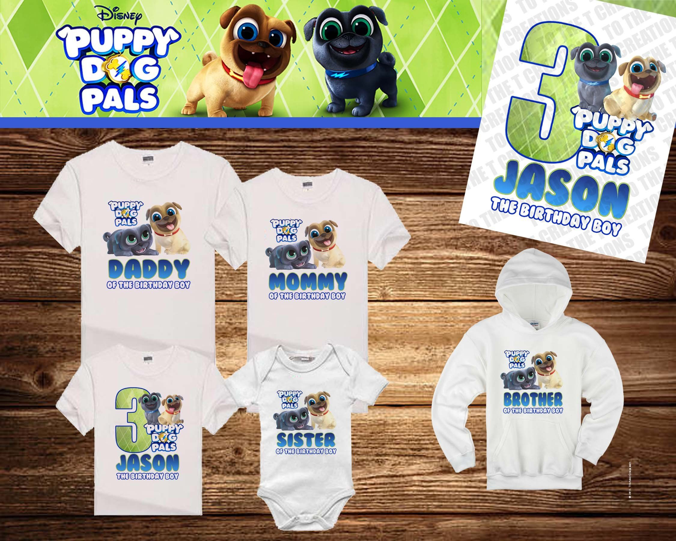 Puppy Dog Pals Personalized Birthday Shirt Tshirt Onesie Mom Dad Sister Brother Personalized Birthday Shirts Birthday Shirts Personalized Birthday