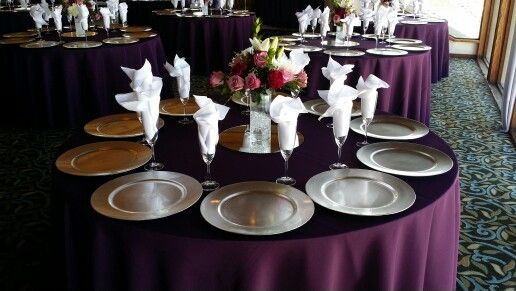 Plum Tablecloths For A Quinceanera At Marina Village. All 120in Round  Tablecloths Rent For $