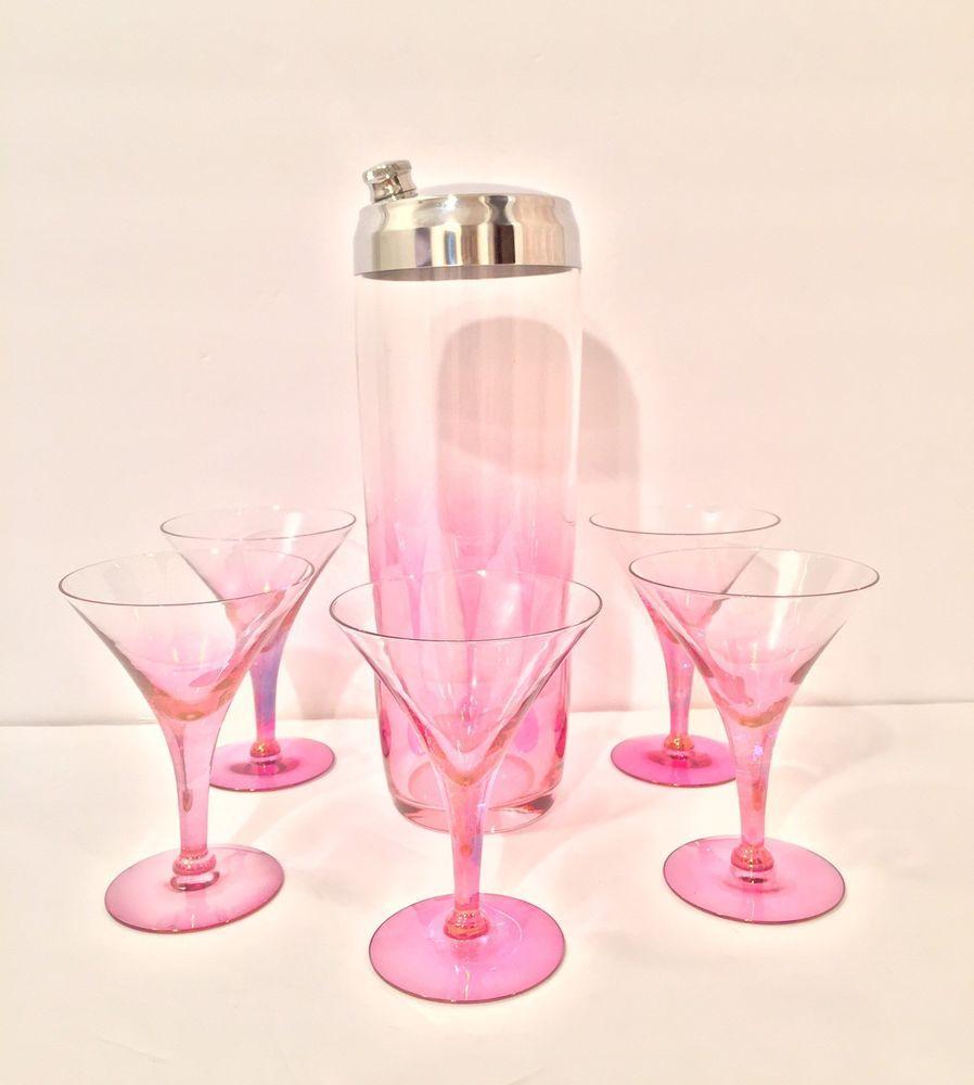 Vintage Mid Century Glass Cocktail Shaker 6pc Set Pink Martini - Excellent!