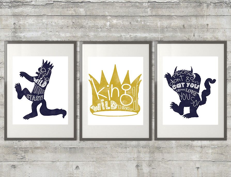 Where The Wild Things Are Print - Set of 3 11x14 Prints by PrintsAndPrintables on Etsy https://www.etsy.com/listing/175112065/where-the-wild-things-are-print-set-of-3