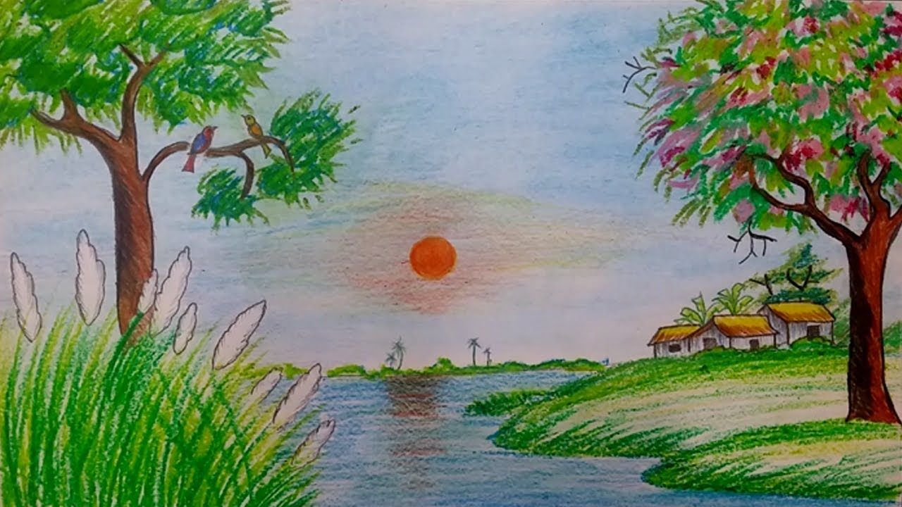 How To Draw Spring Season Scenery Step By Step With Oil Pastel