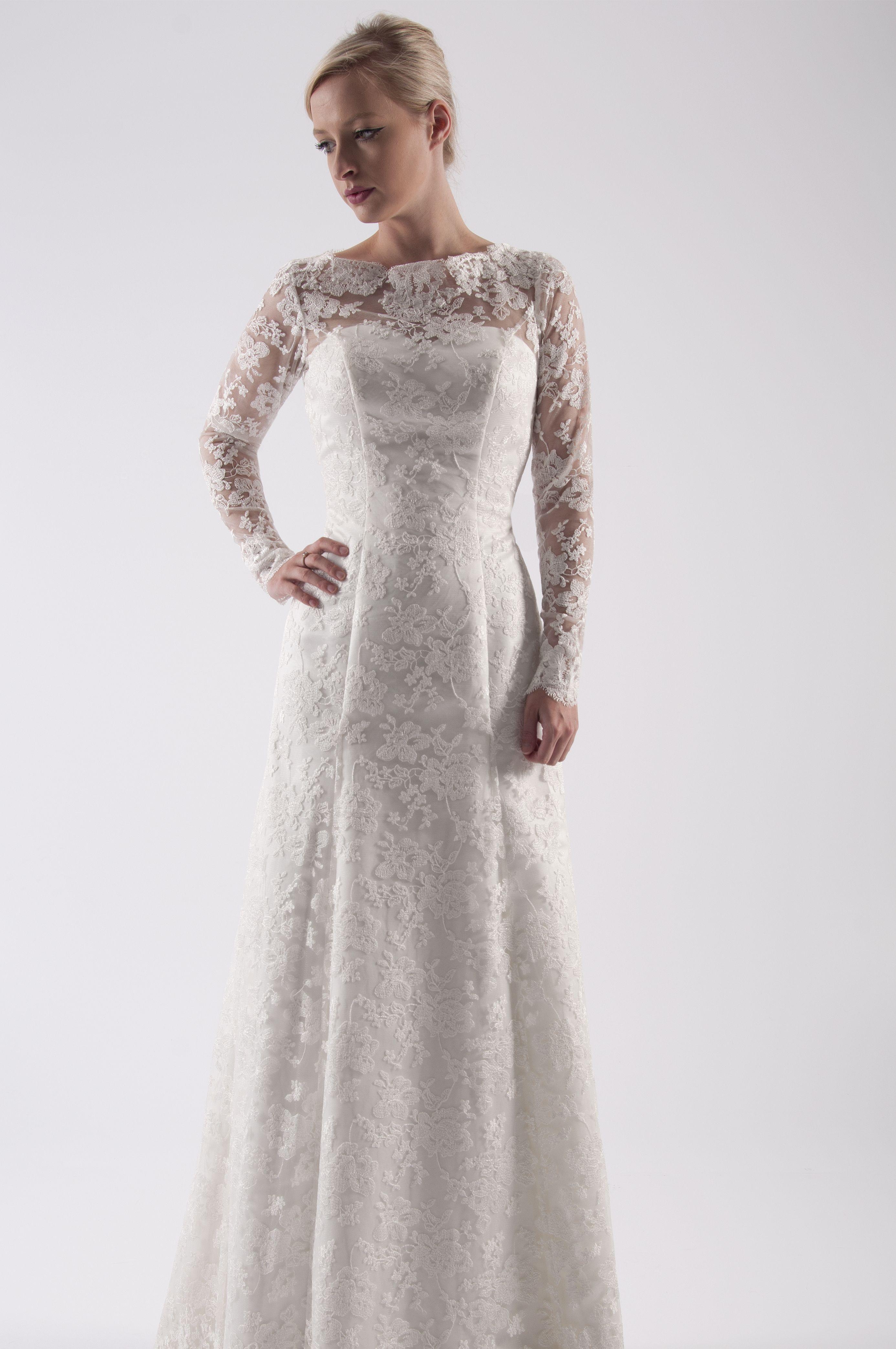 74e4f20d6bf1 House of Mooshki original A line ivory lace wedding dress with keyhole back,  long sleeves