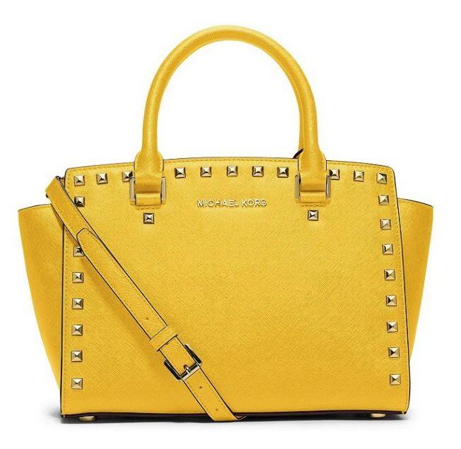 17af78adc482 Michael Kors Selma Stud Top Zip Medium Satchel Sunflower Yellow Handbag  $328 NEW #MichaelKors #