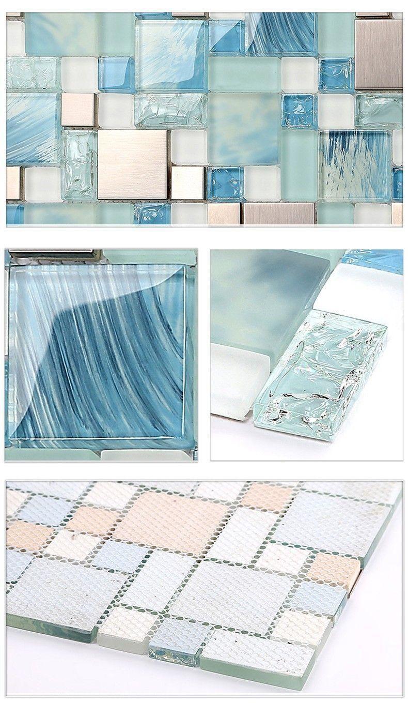 Modern sale 11sheets/lot blue sea glass kitchen tiles bathroom ...