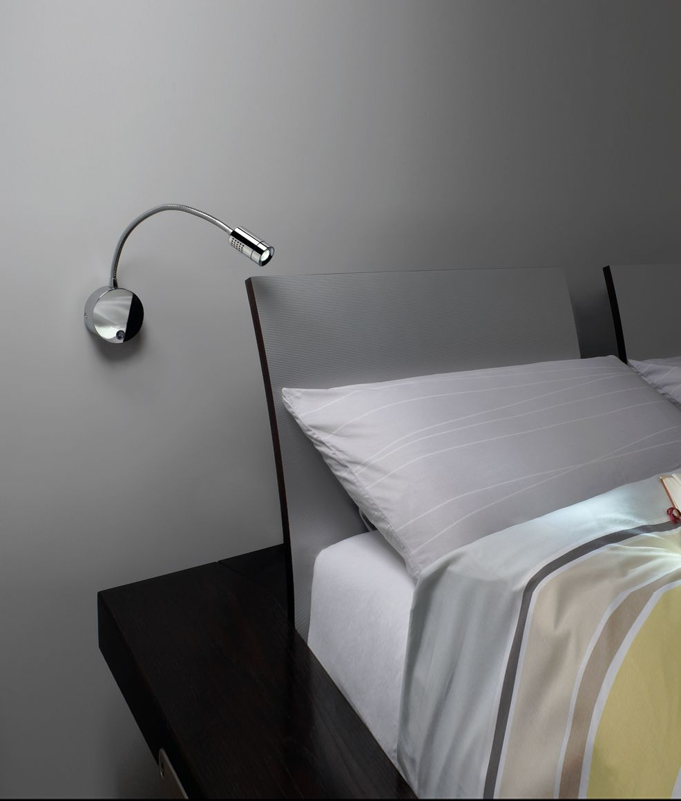 Switched LED Bedside Reading Light Adjustable Arm in