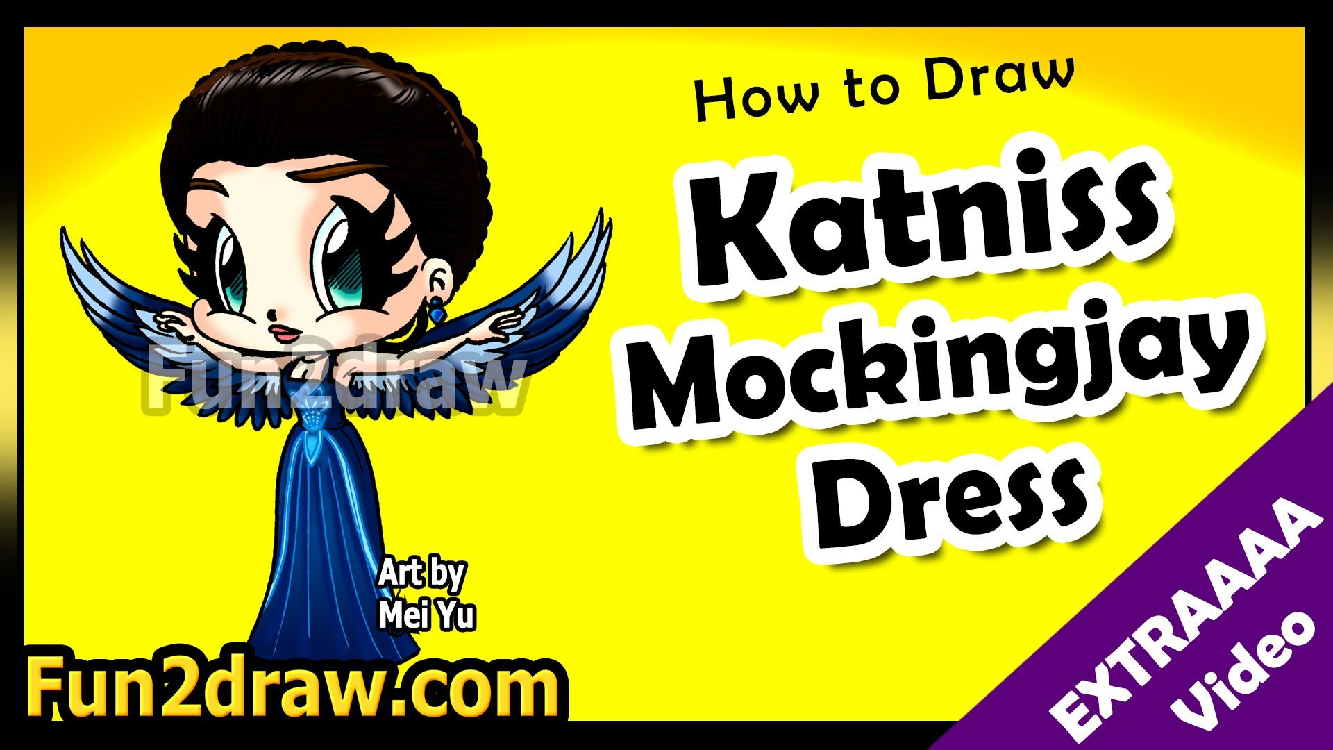 How to Draw Katniss Mockingjay Dress - Hunger Games Chibi Art ...