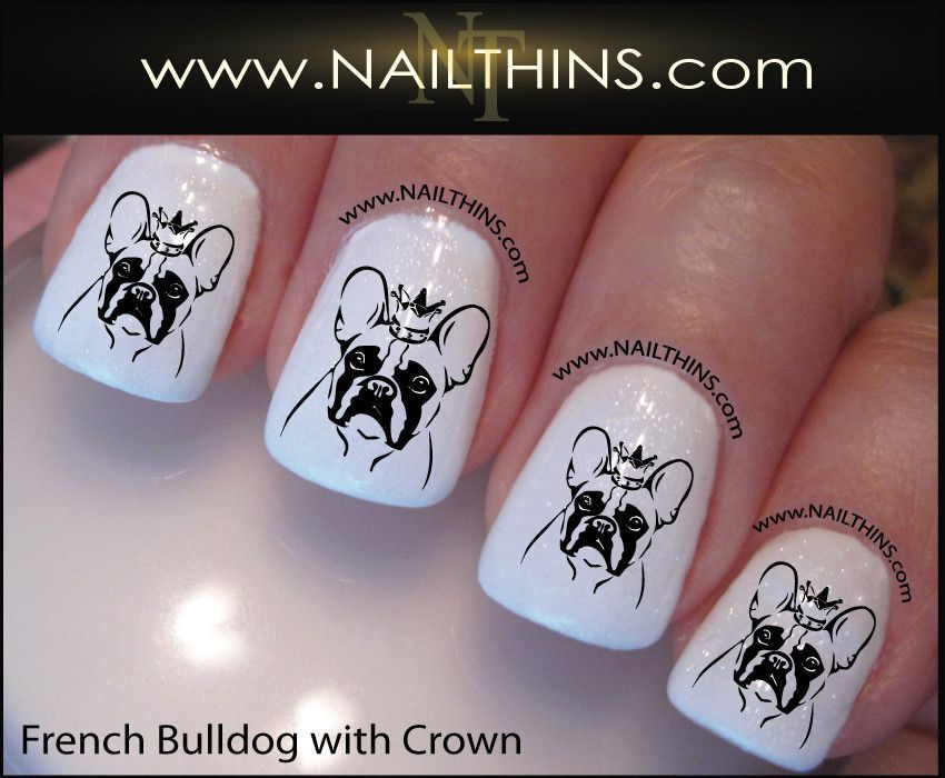 French Bulldog Nail Decal Bull dog with crown NAILTHINS Nail decal ...