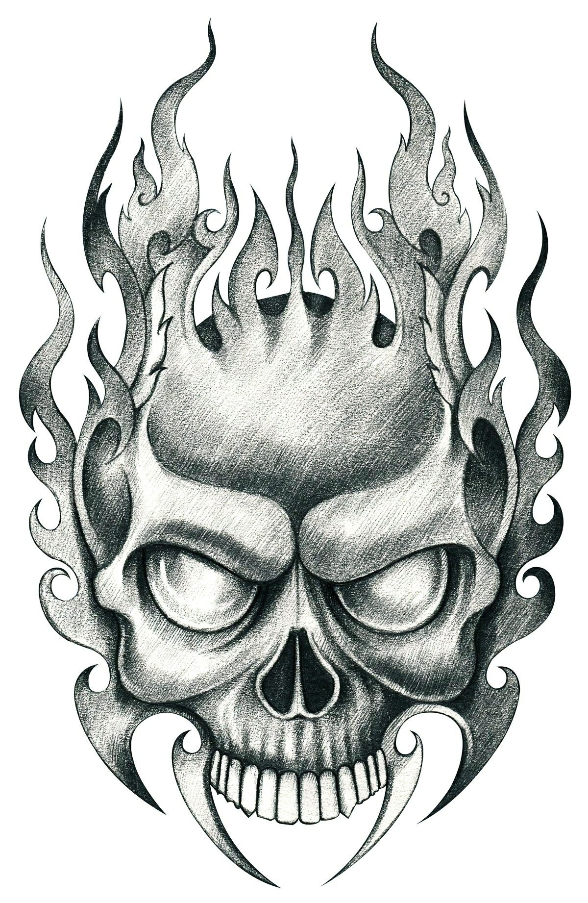 Tribal Flame Skull Skulls drawing, Tattoo design