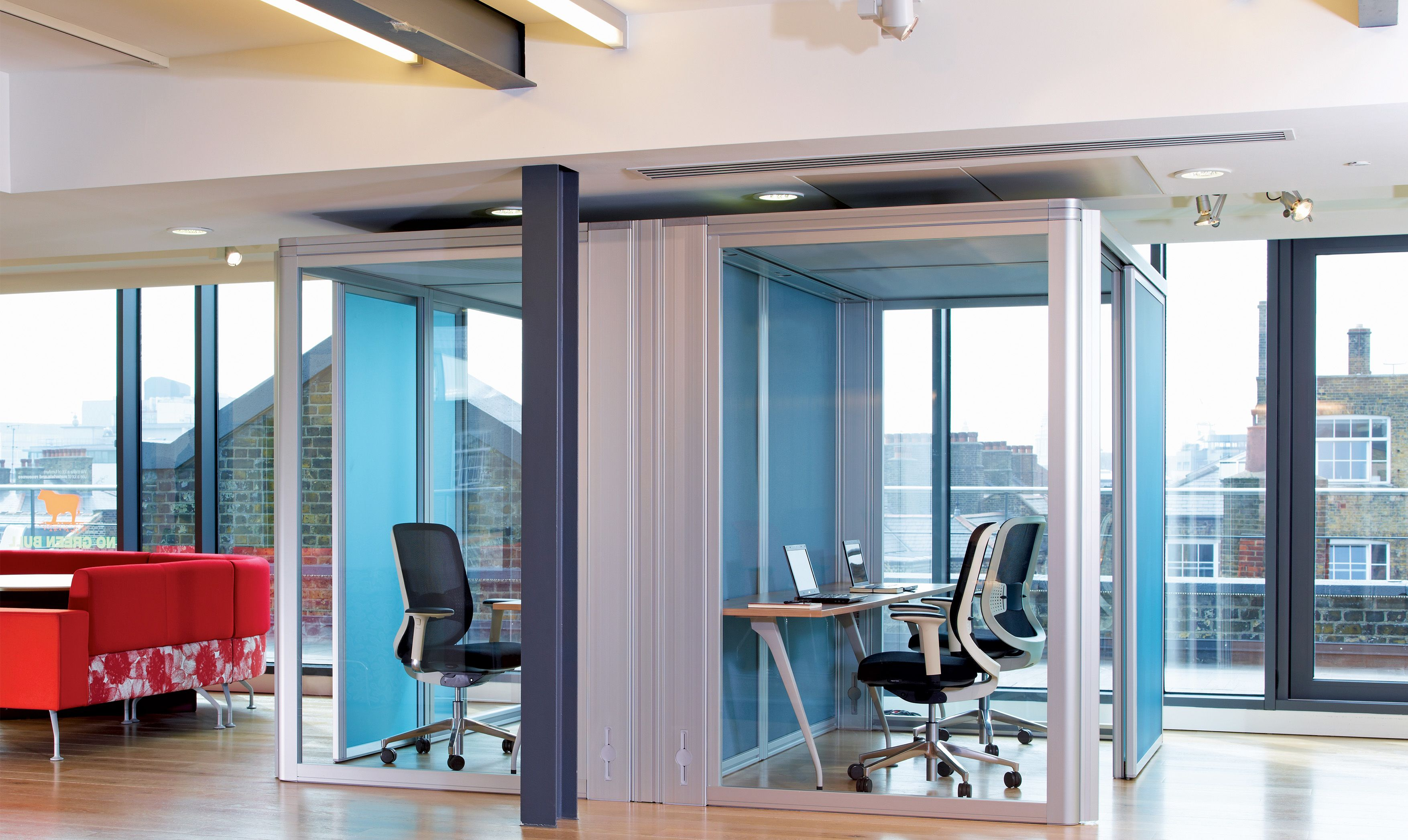 Bespoke office pods suitable for informal meeting areas