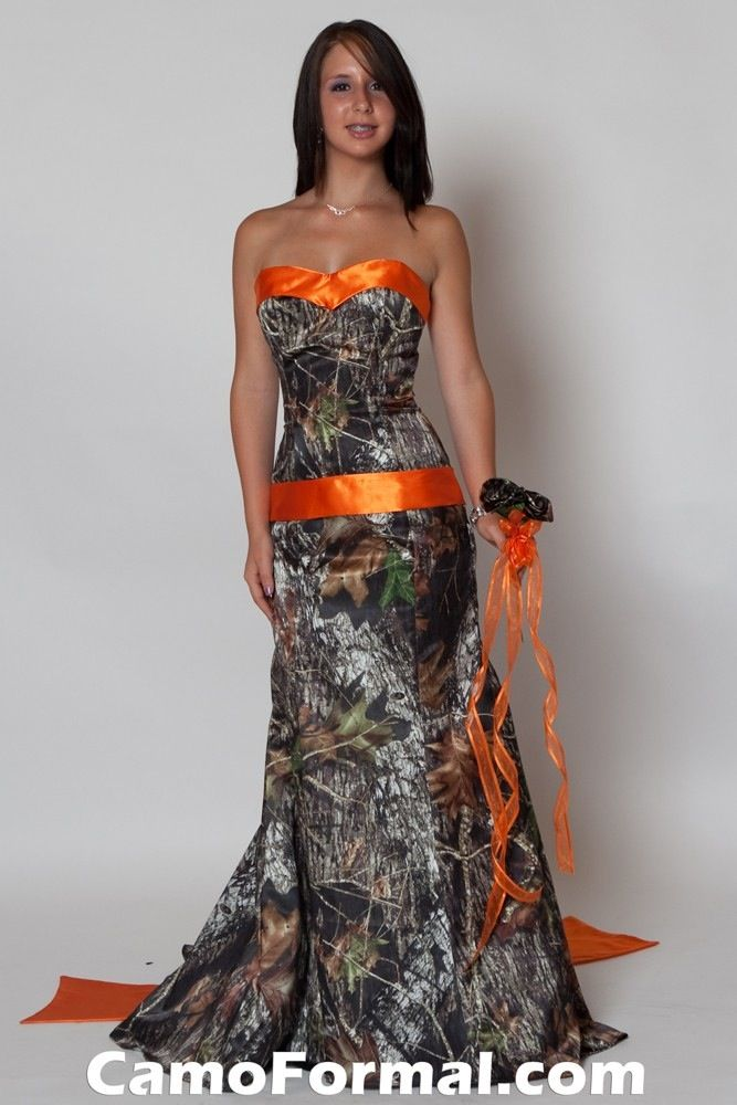 Camo And Hunters Orange Wedding Dress To Go With Paul S Vests For All Others I Am Kidding Wi Camo Bridesmaid Dresses Camo Wedding Dresses Camo Prom Dresses