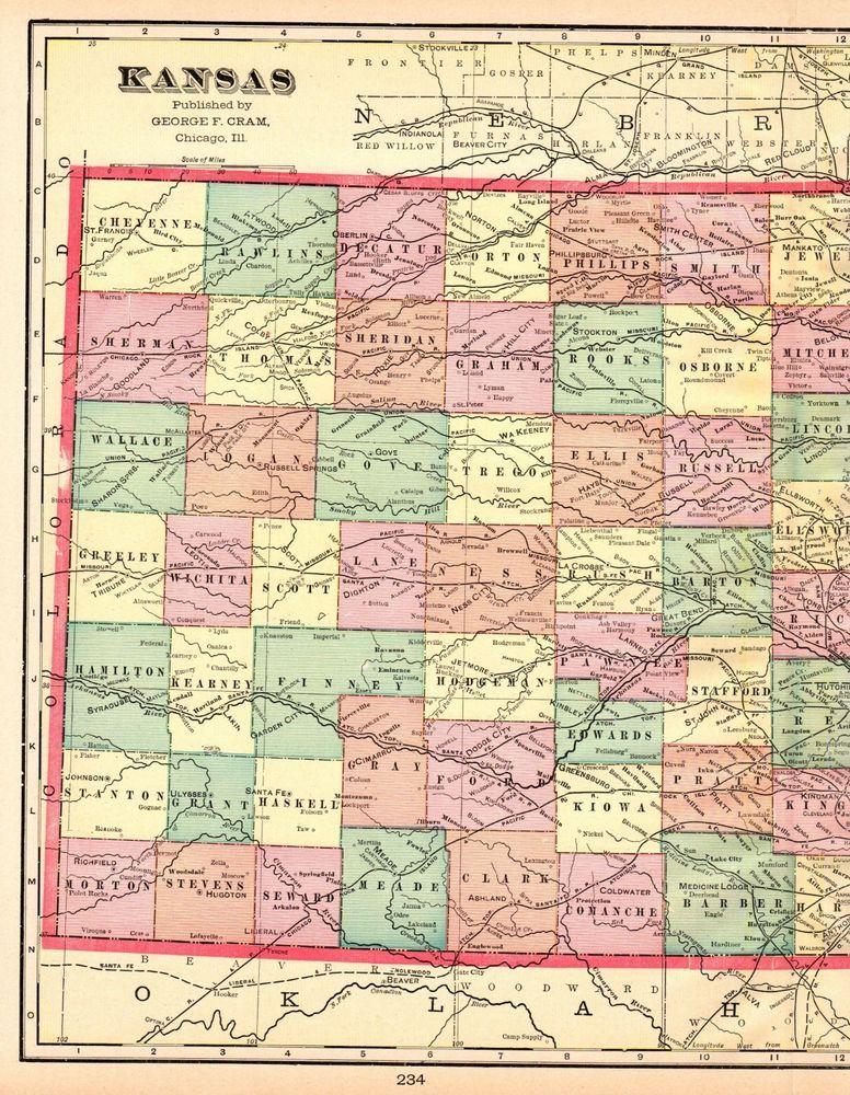 State Map Of Kansas.1908 Antique Kansas State Map Vintage Map Of Kansas Gallery Wall Art