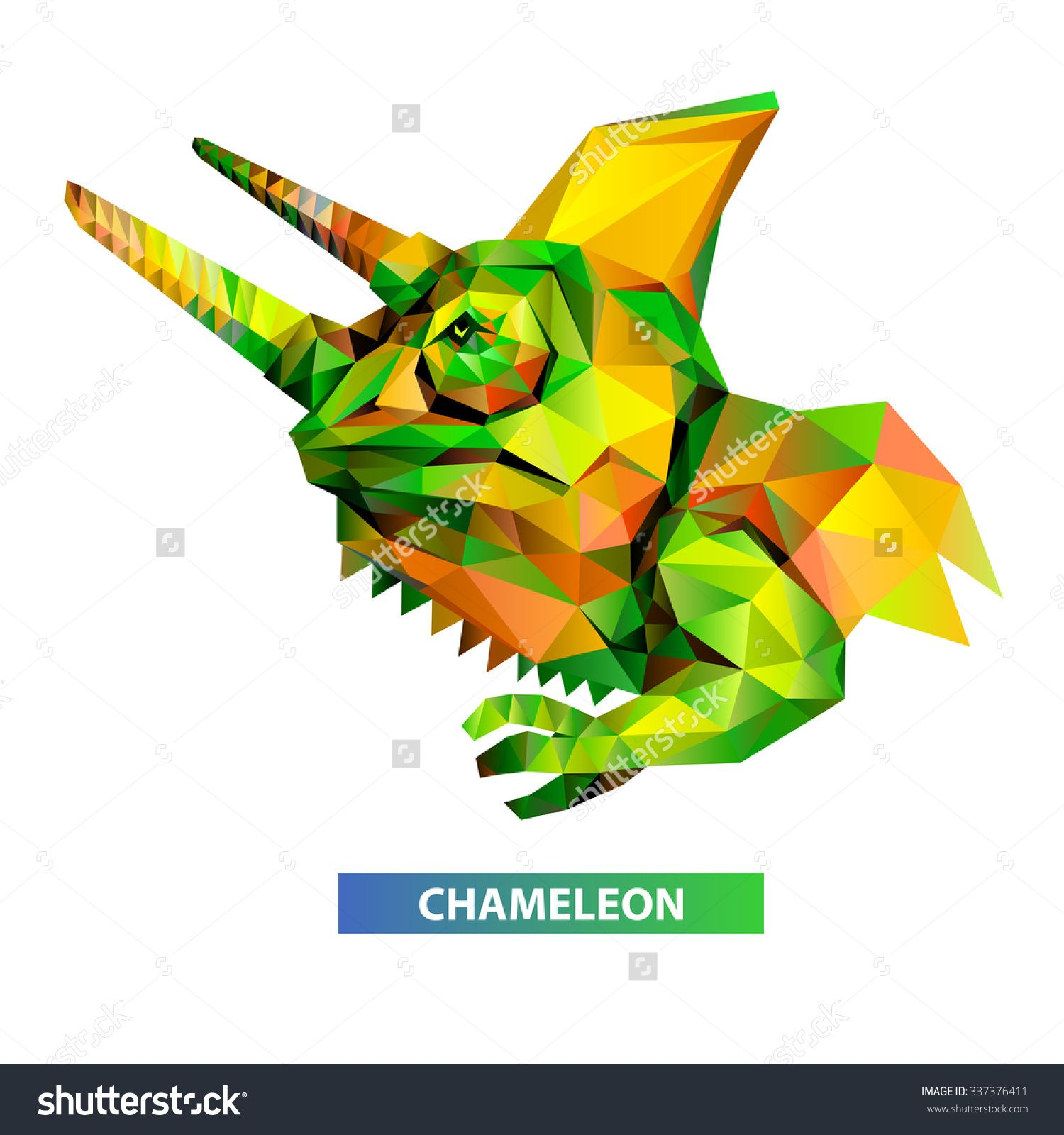 Vector - chameleon head geometric (illustration of a many triangles)