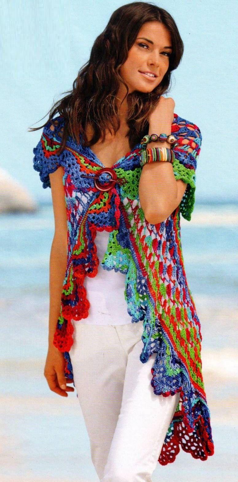 Patrones Crochet: Tunica-Chaleco con Circulo Crochet | chalecos ...