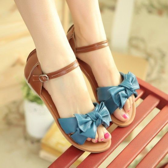 Sweet Bowknot Cute Flat Sandals Shoes | Bow sandals, Cute