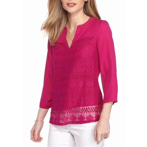 82f6fe614b3 New Directions Desert Fuchsia Lace Front Popover Blouse - Women s ( 32) ❤  liked on Polyvore featuring tops