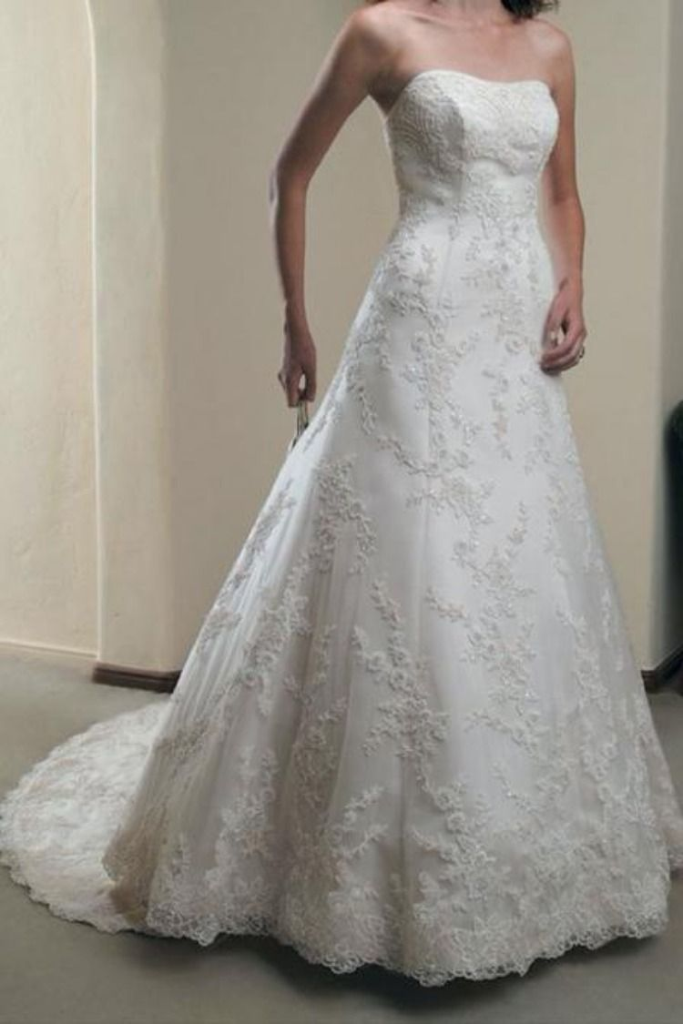 Elegant a line ivory lace appliques sweetheart strapless
