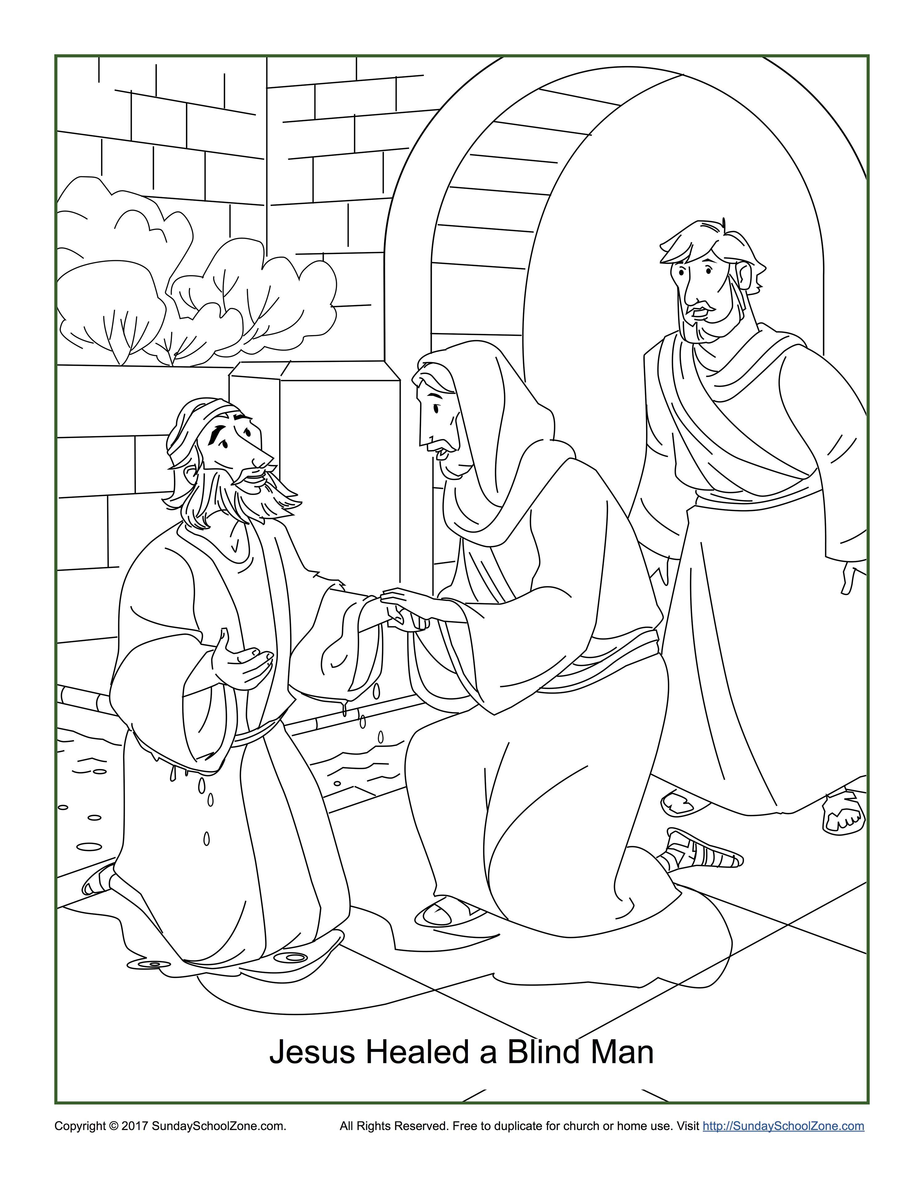 Jesus Healed a Blind Man Coloring Page John 9:1-7   Jesus heals [ 3882 x 3000 Pixel ]