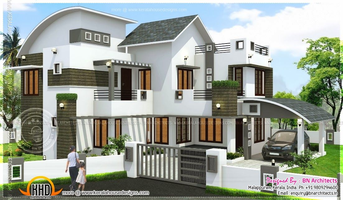 Contemporary Home Designs At Malappuram Part - 18: Square Feet Modern Kerala Home Square Feet Bedroom Contemporary Kerala  Villa Design | Home Design | Pinterest | Kerala, Square Feet And Building  Elevation