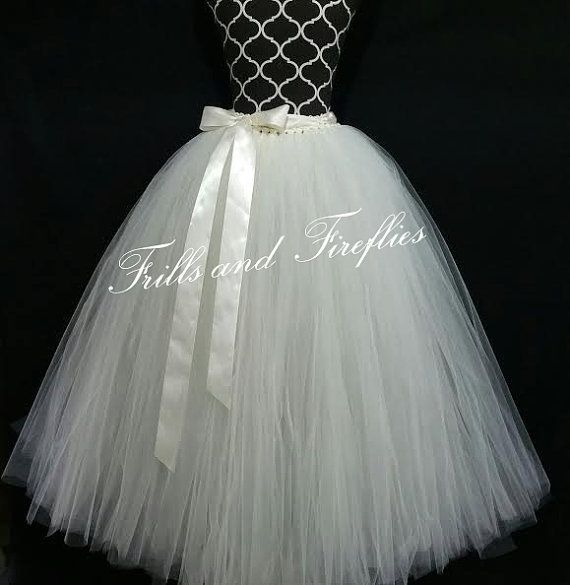 Long White or Ivory Tutu Bridal Tutu Skirt, Long Flower girl Wedding Tutu Skirt, ..Many Colors to Choose Sizes from From Newborn up to Adult