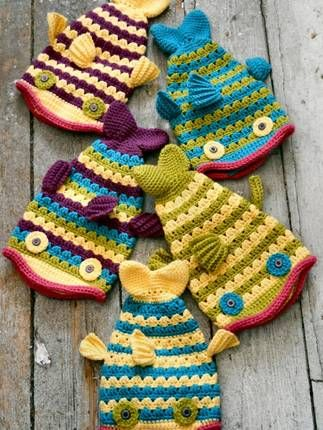 Crochet fish hats- awesome!