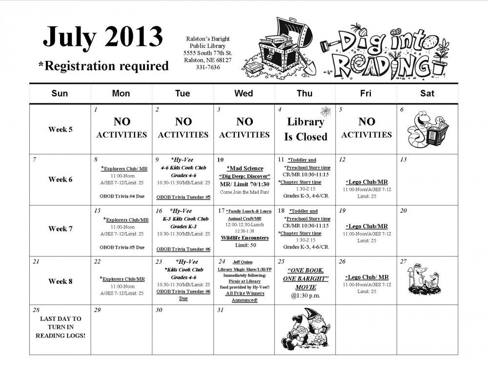 "July Activity Calendar for Baright's Summer Reading Program ""Dig Into Reading"" http://ralstonlibrary.org/children/"