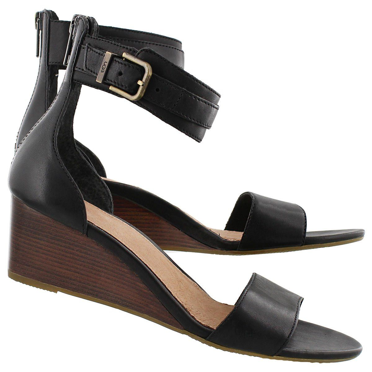 Black sandals with straps - Ugg Australia Women S Char Black Wedge Ankle Strap Sandals 1009708 Blk