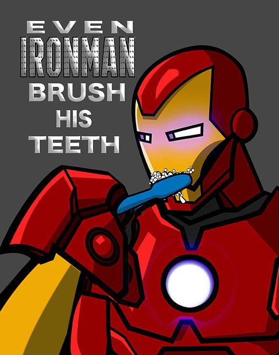 Ironman Art, Superhero, Kids Bathroom Decor, Brush Your Teeth ...