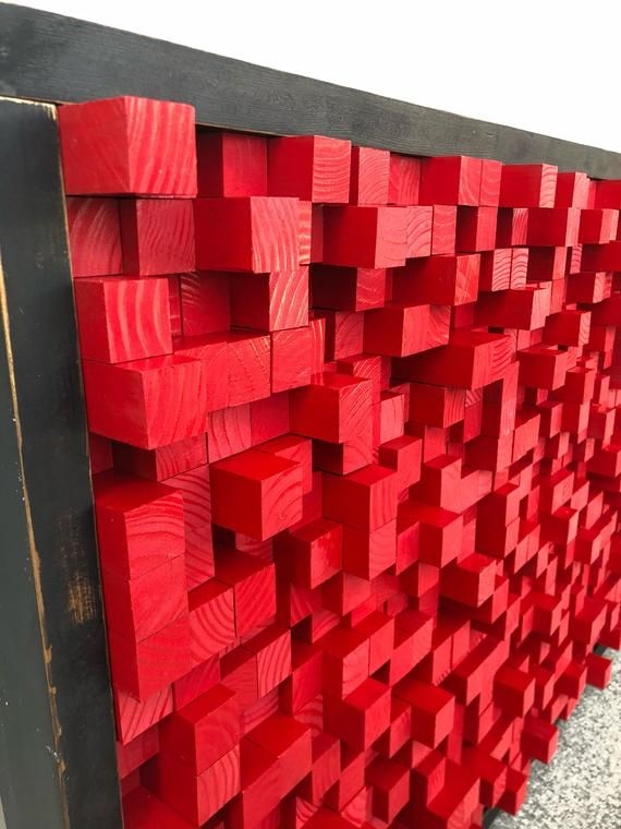 Reclaimed Wood Sound Diffuser Acoustic Panel Red Wall Hanging Etsy Wood Art Panels Acoustic Panels Wood Art