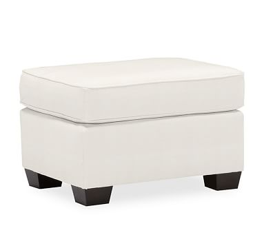 PB Comfort Upholstered Storage Ottoman, Polyester Wrapped Cushions, Organic Cotton Basketweave Warm White