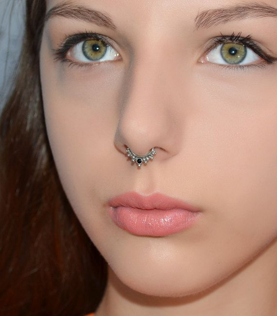 Silver Septum Ring 2mm Onyx Nose Ring Septum Jewelry 20g Etsy