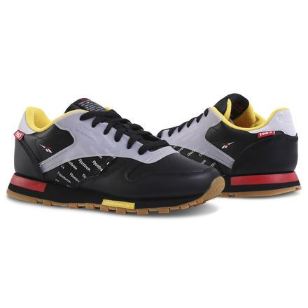New Reebok Classic Leather Mens retro athletic sneaker yellow black all sizes