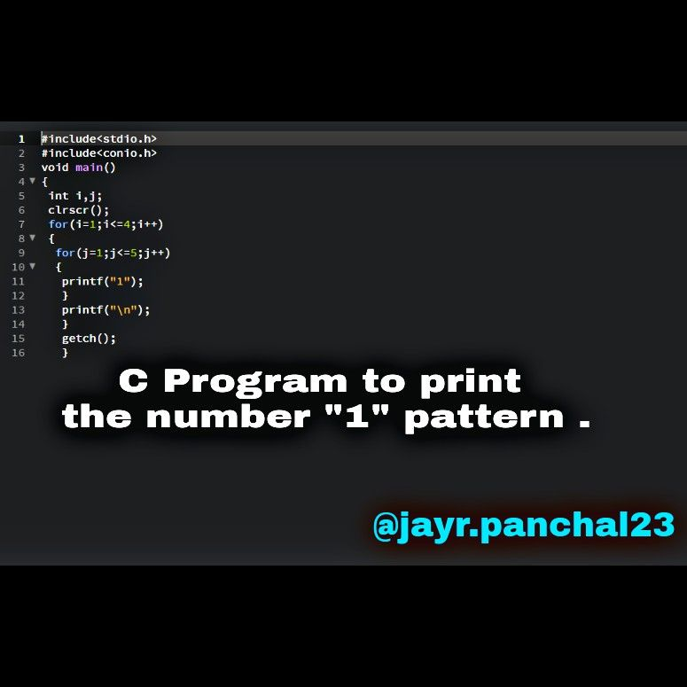C Program To Print The Number 1 Pattern Cprograms
